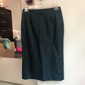 Zara Navy Vegan Leather Pencil Skirt